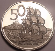 Rare Proof New Zealand 1975 50 Cents~Only 10,000 Minted~H.M.S. Endeavour... - $18.11