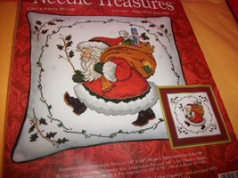 Craft Holiday Needle Treasures Kit Santa Pillow Thread Christmas Cross S... - $28.49