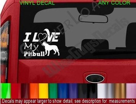I Love my PITBULL DOG Decal Sticker heart DOGS Puppy pets rescue cute decals pet - $8.99