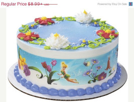 SUMMER SALE Disney Fairies-Flowers Designer Prints Edible Image Cake Topper - $8.99
