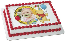 Winnie the Pooh and Honey with Personalized Photo Edible Image Cake Topper - ₨630.74 INR