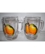 Parker Glass Handled Glass Juicer Glasses Set of 2 Pear Design Vintage - $11.99