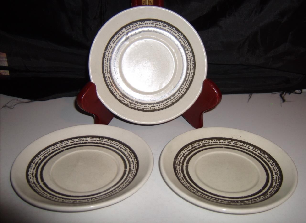 Primary image for Bilton Ironstone Tableware Staffordshire England 3 Saucers Brown Inner Rings