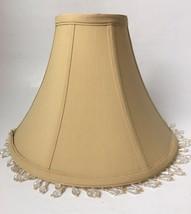 "Beaded Fabric Lamp Shade Bell Shaped Bead Fringe Golden Beige 8"" Two Ava... - $24.70"