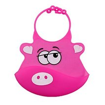 Lovely Rosy Pig Adjustable Waterproof Silicone Baby Bib Pocket Bib 2026 cm