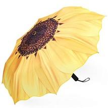 Plemo Automatic Umbrellas, Windproof Sunflower Design Compact Folding Um... - $16.57
