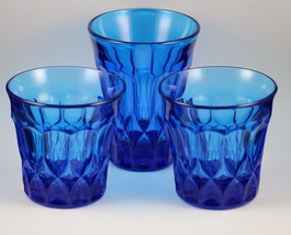 Set of 3, Perspective, Blue, Tumblers, made by Noritake 1970-85 - $24.00