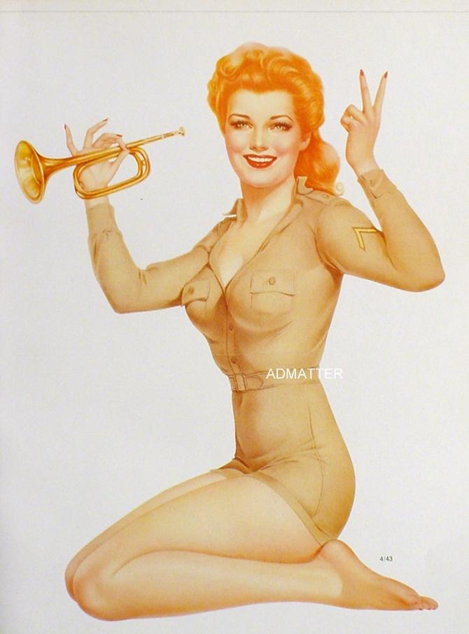 Alberto Vargas 2-Sided Print 1943 Pinup Girls OOPS! MISSING ARM! & ARMY  BUGLER