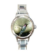 Ladies Round Italian Charm Bracelet Watch Black-chinned Hummingbird Bird26480060 - £9.69 GBP