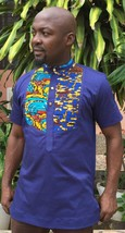 Odeneho Wear Men's Blue Polished Cotton Top/African Print Design. African Cloth - $74.25