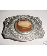 Brown Moon Cabachon Silver Tone Belt Buckle Chambers - $4.89