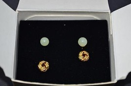 Avon Genuine Jade & Love Knot Earring Duo - $19.99