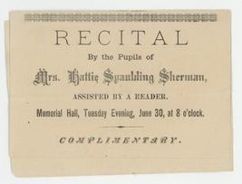 Sherman music recital playbill program 1890 New hampshire antique vintag... - $9.00