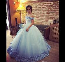 Vintage Light Blue Ball Gown Wedding Dress 2019 Hand Made Flowers Wedding Gowns - $165.99