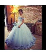 Vintage Light Blue Ball Gown Wedding Dress 2019 Hand Made Flowers Wedding Gowns - £128.09 GBP