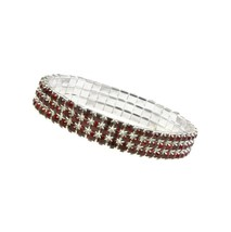 Silver Tone Three Row Siam Red Crystal Tennis B... - $22.65