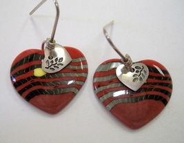 Ember Heart Earrings Porcelain Unique Ceramic Red Black Handcrafted Pier... - $40.00