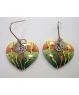 Parrot Heart Earrings Unique Porcelain Ceramic Yellow Green Orange Handc... - $40.00