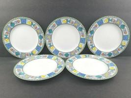 "5 Studio Nova Beach Party Salad Plates Set Vintage 8 1/4"" Fish Seashell ... - $56.30"