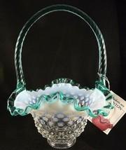Fenton Aqua Green Crest Opalescent Hobnail Basket Hang Tag Twist Handle  - $53.46