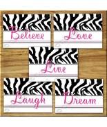 Pink ZEBRA Print Wall Art Girl Teen Room Decor LAUGH LOVE Inspirational ... - $19.99