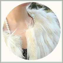 Long Tufted White Haired Ivory Faux Fur Short Coat Jacket Inside Covered Buttons image 2