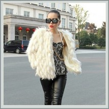 Long Tufted White Haired Ivory Faux Fur Short Coat Jacket Inside Covered Buttons image 3