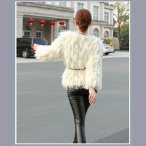 Long Tufted White Haired Ivory Faux Fur Short Coat Jacket Inside Covered Buttons image 4