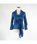 Dark blue TADASHI COLLECTION stretch shimmery 3/4 sleeve blouse 8 - $54.99