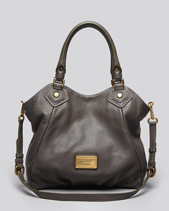 Primary image for NWT MARC JACOBS Classic Q Fran Faded Aluminum Gray Leather Shoulder Tote AUTHNTC