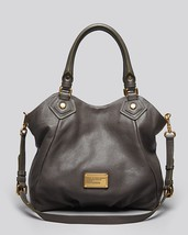 NWT MARC JACOBS Classic Q Fran Faded Aluminum Gray Leather Shoulder Tote... - $418.00