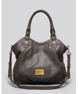 NWT MARC JACOBS Classic Q Fran Faded Aluminum Gray Leather Shoulder Tote AUTHNTC - $418.00