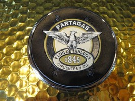 Partagas 1845 Cigar Logo Coaster Chome edging with leather bottom - $19.95