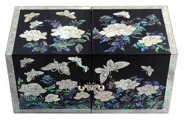 mother of pearl trinket jewelry box jewel case organizer butterfly & flo... - €59,83 EUR