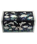 mother of pearl trinket jewelry box jewel case organizer butterfly & flo... - $74.25