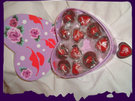 Valentines Heart Box of 12 Candles Chocolate Scented Tea Lite - $5.00