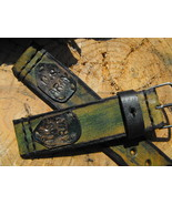 Leather Nato strap hand made army green leather strap military watch str... - $35.09