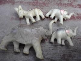 Old CRACKER JACK Celluloid Elephant Donkey Charms + Elephant Figurine FR... - $21.78