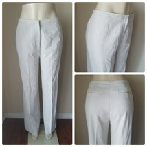 Ann Taylor Cream Beige Wide Leg Dress Pants Flat Front Slacks Trousers C... - $25.76