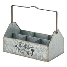 Galvanized Metal Wine Caddy Holds 6 Bottles Country Farmhouse Style - $33.45