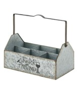 Galvanized Metal Wine Caddy Holds 6 Bottles Country Farmhouse Style - $29.65