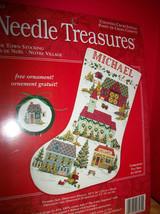 Craft Holiday Needle Treasures Kit Our Town Stocking Christmas Cross Sti... - $28.49