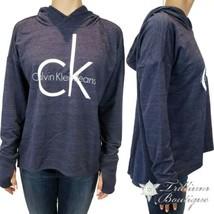 Calvin Klein Jeans Women's Lightweight Hooded Logo Sweatshirt Navy Small... - $59.37