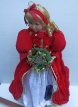 "Doll/Lovely 25"" Merry Christmas Doll w/ light up wreath on display stand... - $24.74"