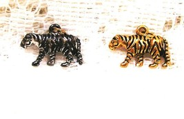 Joan Rivers Noah's Ark Tigers Charm Pair Set Couple w Extender Chain Ret... - $50.00