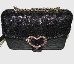 Betsey Johnson Sequin Jeweled Heart Flap Shoulder Bag image 6