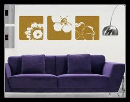 3 Canvas Effect Flower Vinyl Wall Art Sticker Decals Fashionable Decoration 28cm - $11.98
