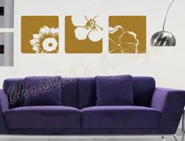 3 Canvas Effect Flower Vinyl Wall Art Sticker Decals Fashionable Decoration 28cm - $19.79