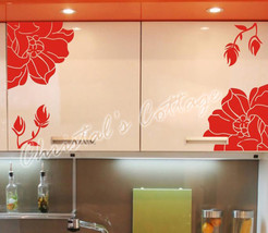 Set of 4 Flower Vinyl Wall Art Graphic Sticker Decals Fashionable Decoration - $15.05