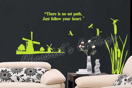 Windmill & Dragonfly Vinyl Wall Art Graphic Sticker Decal Fashionable Decoration - $12.85